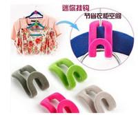 Wholesale Wholesale Closet - 10pcs random color Home Mini Flocking Clothes Hanger Easy Hook Closet Organizer Travel Flocking Mu