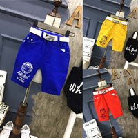 Wholesale Candy Color Waist Belts - New Candy boys pants Children casual pants kids Shorts + belt 2pcs Summer Shorts Kids Clothing Boys Clothes Toddler Clothes Child Wear A698