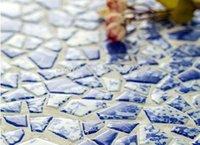 Wholesale glazed ceramic tiles - Glossy kiln glazed ceramic mosaic tiles, Blue glazed decor ceramic mosaic tile, Irregular porcelain tiles, for Kitchen Bathroom etc.,LSSP03