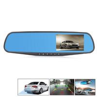 """сенсорный экран для приборной панели автомобиля оптовых-HD 4.3 """" 1080P автомобильный видеорегистратор автомобиля двойной объектив с антибликовым покрытием синий зеркало Видео Авто вождения рекордер"""