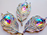 Wholesale Coloured Sew Rhinestones - 20pcs new fashion style sew on rhinestones flatback leaf feather shape 25*50mm clear AB colour handsewing gem stones crystal