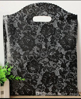 Wholesale Plastic Shopping Bags Black - 100pcs 20*26cm Small Black lace Plastic Black Bag , Shopping Jewelry Packaging Plastic Wedding Gift Bags sexy