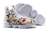 Wholesale Pink Floral Shoes - KITH x LeBron 15 Floral Basketball Shoes Arrival with Zipper James 15 for High quality LBJ 15s Airs Cushion Sports Sneakers