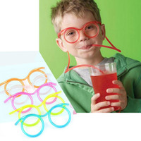Barato Refrigerantes Grossistas-Wholesale-Fashion Cute Fun Use Funny Kids Colorful Soft Glasses DIY Straw Unique Flexible Drinking Tube Kids Party Gift W1 S2