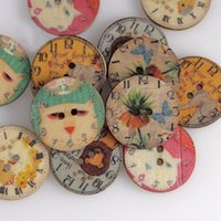Wholesale Sew Buttons 25mm - Hot 50pcs Sale 25mm Round 2 Holes Buttons Wooden Decorative Buttons Fit Scrapbooking Sewing Decor Botones De Madera YT0346