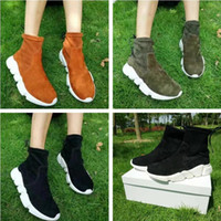 Wholesale Plain Black Socks - 2017 Brand Original Box Speed Trainer Stretch Boots Woman Fashion Flock Slip On Sock Boots Black Army Green Flat Casual Shoes Size 40