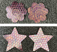 Wholesale Designs Tapes - colorful sexy mermaid fish scale designs Disposable nipple covers Safety environmental protection tit tape sticker pasties breast pad
