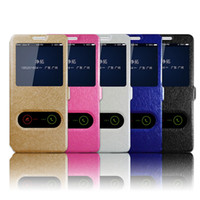 Wholesale Galaxy S4 View Flip - for Samsung Galaxy S8 Plus S7 S6 Edge S5 S4 Case Flip Silk Texture Dual Window View PU Leather Phone Cover
