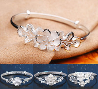 Wholesale Rose Bangles 925 - Rose Women Bangle 2017 New 925 Sterling Silver Bracelet luxury brand Charms carter jewelry Rose Bangles for women