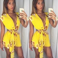 Wholesale Sexy Skinny Dress - 2015 European style explosion belt summer sexy deep V dress Halter Chiffon printing head short shorts