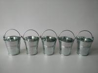 Wholesale Tin Favor Pails - Mini Buckets Metal cup Tin Box Kids Tin Pails Wedding Favor Holder Candy Box Silvery Easter eggs pot