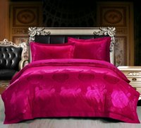 Wholesale King Rose Jacquard Comforter - 19 Color Designs - luxury Silk Cotton Satin Jacquard Rose red Bedding Set Duvet Cover Bed Linen Bed sheet Pillowcases Bedclothes