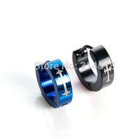 Wholesale Taper Earrings Men - Factory Direct Piercing Earrings 316l Titanium Steel Taper Hoop Cross Rock Punk Circle Earring 3 Colors Studs For Women Men
