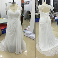 Wholesale Dresses Fat Brides - Plus Size Wedding Dresses Cheap 2017 V Neck Pleats Chiffon Long Bridal Gowns Lace Up Open Back Maxi Size Dress For Fat Brides