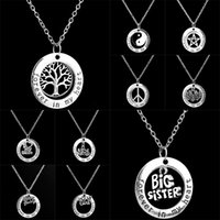 Wholesale Moms Rings - Forever In My Heart Ring Necklaces Family Member Life of Tree Mom Big Little Sister Peace Best Friend Pendant for Women Jewelry 161757