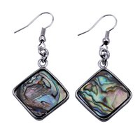 Wholesale Square Shape - 1Pairs Free Shipping Women Fashion Jewelry Square shape abalone shell earrings zcx8007