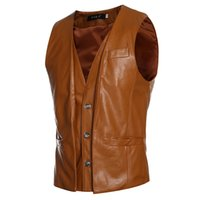 Wholesale Leather Vest Wholesalers - Wholesale- Men's PU Vest Black&dark Brown&light Brown Retro Design False Two Mens Slim Leather Waistcoat Leather Suit Sleeveless Jacket