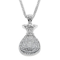 Wholesale Money Tins - Hip Hop Antique Silver Gold Plated Money Bag Pendant For Men Women Bling Crystal Dollar Charm Necklace Long Cuban Chain Jewelry