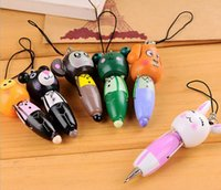 Cute Cartoon Animals Portable Wooden Pen / Mobile Phone Chain / Straps 100pcs / lot Frete grátis EMS