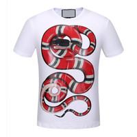 mangas de serpiente camiseta al por mayor-2017 verano nuevo de gama alta de los hombres de la marca serpiente camiseta de moda de manga corta de impresión del cráneo de moda camiseta de los hombres Tops Tees