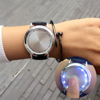 Wholesale Birthday Gift Watches For Women - Luxury Watches LED Watch Fashion PU Leather Women Mens Watches Colorful Lights Watches For Men Women Quartz Wristwatches Birthday Gift 442