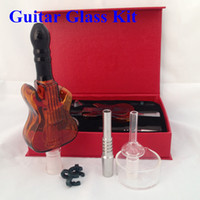 Wholesale Glass Guitars - Guitar glass kit 14mm nectar collector 2.0 kit honey straw Glass water pipes with domeless quartz nail 14mm nector collector oil rigs