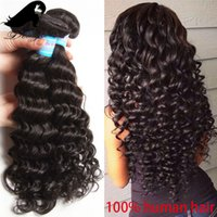 Wholesale Long Curly Human Hair Weave - Brazilian Curly Human Hair Weaves 3pcs Natural Black Deep Wave Hair Extensions Long Water Wave Human Hair Weave Bundles for Women 100g pc
