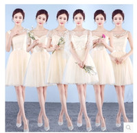 Wholesale Cheap Fast Shipping Lace Dresses - Fast ship V-Neck A-Line Cap Sleeve Chiffon Lace Champagne Grey Bridesmaid Dresses Cheap In Stock Evening Dresses