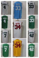 Wholesale Gray Baseball Uniforms - 7 Jaylen Brown Uniforms 4 Isaiah Thomas 42 Al Horford Jersey Shirt Larry Bird 34 Paul Pierce Christmas Throwback Green White Gray
