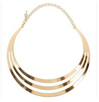 Wholesale Wide Gold Choker - Punk Shine Metallic Curved Mirror Wide Hollow Choker Necklace Gold Silver Collar Mottle Necklace Gothic Metal Hot Sale Alloy Charm