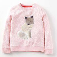 Wholesale Oem Hoodies - Wholesale- OEM girls sweatshirt animal cat printed hoodies for girls 2y 3y 4y 5y 6y 7y little baby hoody pullover sweatshirts kids outfit