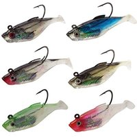Wholesale Real Lure - 6pcs Lifelike 3D Eyes Laser Soft Lead Jigging Fishing Lures Soft Silicone Jig Head Real Lead Weights Artificial Bait