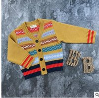 Wholesale Babies Cashmere Coats - Baby kids knitting coats boys girls Cardigan sweater Infants Multi-color all-match tops kids single breas outwear 2017 Autumn clothes G0699