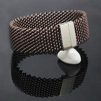 breite gewebte armbänder großhandel-22mm breit Woven Mesh Armbänder Edelstahl Ketten Silber Farbe Metall Armband Armreif für Frauen Schmuck Armband