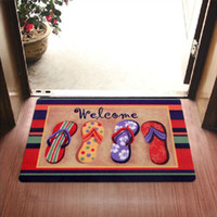 Wholesale Door Carpets - Welcome Slippers Are Patterned Printing Kitchen Carpets And Rugs Anti-Slip Entrance Door Mats 5 kinds of size to choose from