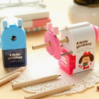 Wholesale Deli Pencil Sharpener - Wholesale-Deli Mechanical pencil sharpener machine Little Girl & Boy manual sharpener for kids Stationary Office School supplies 6764