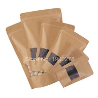 Wholesale Brown Candy Papers - Thickness 16 wire Brown Stand Up Kraft Paper Gift Bag For Tea Candy Nut Food Packaging Zip Lock Bags Gift Storage Bags