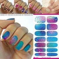 Wholesale Minx Foils - Wholesale- K5640 Fashion Nail Art Stickers Mysterious Blue Ocean Drops Water Transfer Nail Sticker 3d Manicure Minx Nail Wraps Foil Decals