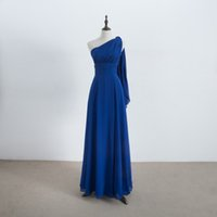 Wholesale real pleat wedding dress online - Long Chiffon Convertible Bridesmaid Dress Lace Up Royal Blue Wedding Bridesmaid Gowns For Party Real Pictures
