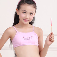 Wholesale Girls Bra 38a - 2018 Fashion Puberty Underwear Young girl bra Teenagers Student sports wireless Training Bras camisole vest (8-15Y) No.One