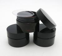 pots de crème en plastique pour animaux de compagnie achat en gros de-50 x 30g vide crème de soin de peau d'animal familier d'ambre foncé avec des couvercles en plastique avec l'insertion 1oz récipient cosmétique
