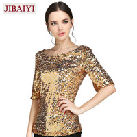 Wholesale Sequin Half Sleeves Tops - Wholesale- New Sequins Half Sleeve T-shirts Women Fashion Gold Silver Nightclub Party Female Tops Spring Brand Clothes Slim Pullovers Blose
