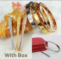 Wholesale Lover Gift Set - High Quality Luxury Bracelet Classic Fashion brand lovers titanium steel Bangle Women Men Bracelet Diamond Bangles Screwdriver With Gift Box