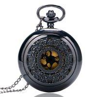 Wholesale Stainless Grille - Wholesale- Charm Black Vintage Steampunk Elgent Grilles Case Quartz Pocket Watch Women Necklace Pendant with Chain Reloj De Bolsillo P240
