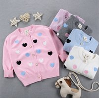 Wholesale Girl Love Cardigan - New Autumn Baby Sweater Love Heart embroidery warm Cotton Kids Outwear Cute Knitted Children cardigan 6 Colors C1901