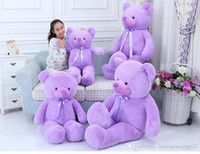 Wholesale Selling Doll - Manufacturers selling Lavender bear plush toy doll Teddy bear large pillow girls birthday gift doll 42cm 55cm 75cmcm Lavender bear plush toy