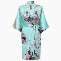 Wholesale Light Green Lingerie - Wholesale- Light Blue Chinese Women Silk Rayon Robe Summer Sexy Lingerie Sleepwear Kimono Bath Gown Pajama Size S M L XL XXL XXXL A-009