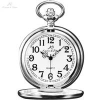 Wholesale Copper Vintage Pocket Watch - Wholesale-KS Vintage Retro Steel Silver Case White Dial Analog Quartz Relogio Necklace Copper Key Pendant Chain Men Pocket Watch   KSP002