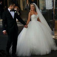 Wholesale Cheap Fluffy White Princess Dress - Custom Made 2015 Ball Gown Wedding Dresses Sweetheart Corset Bridal Princess Gowns Beaded Bodice Fluffy Garden Cheap Wedding Dresses