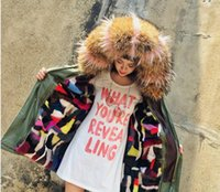 Wholesale Ladies Real Mink Jacket - championsjersey live show Real mink furs mix colourful liner green jacket mr&mrs ladies mini furs parkas with large raccoon collar